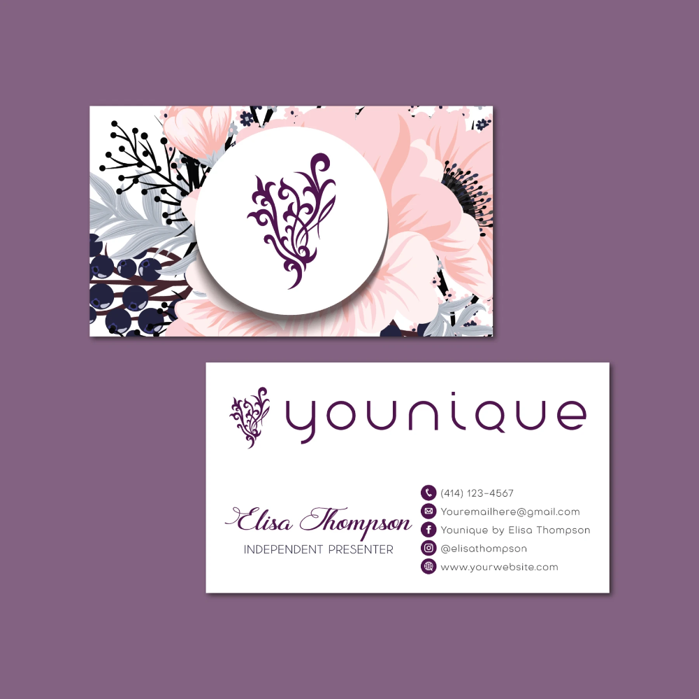 Floralyounique Business Card Personalized Younique Business Card Yq15 Younique Business Cards Younique Business Custom Business Cards