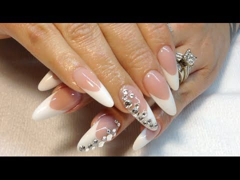 How To Pink White Almond Shape Nails Melodysusie 36 Watt Uv Lamp Review Almond Shape Nails Gold Chrome Nails Almond Nails Designs