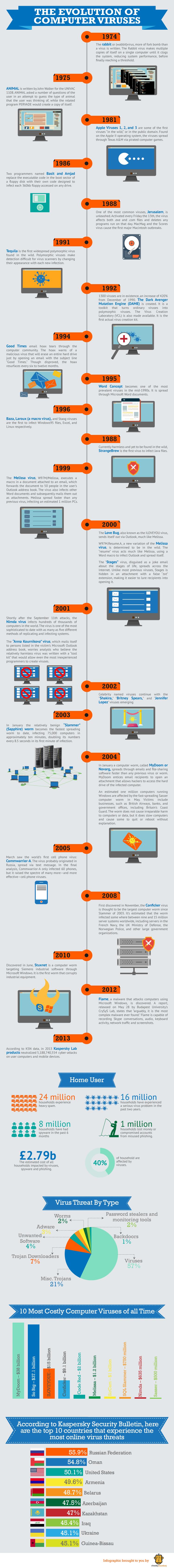 The Evolution of Computer Viruses #infographic #Computer #Viruses #History
