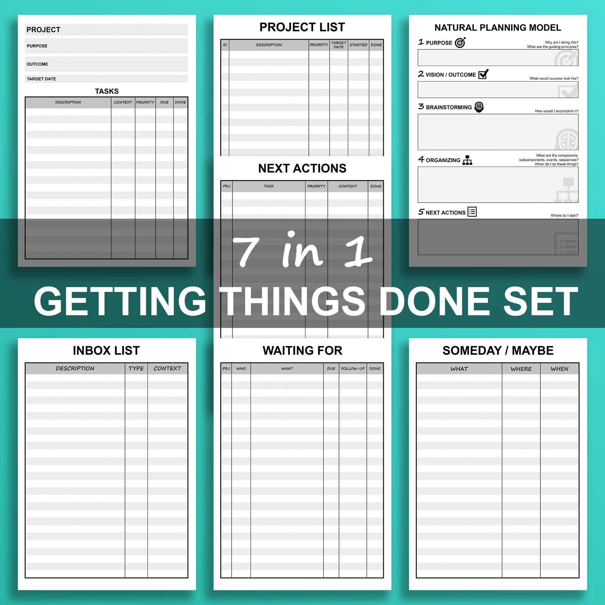 Getting Things Done (GTD) Printable Bundle 7 in 1
