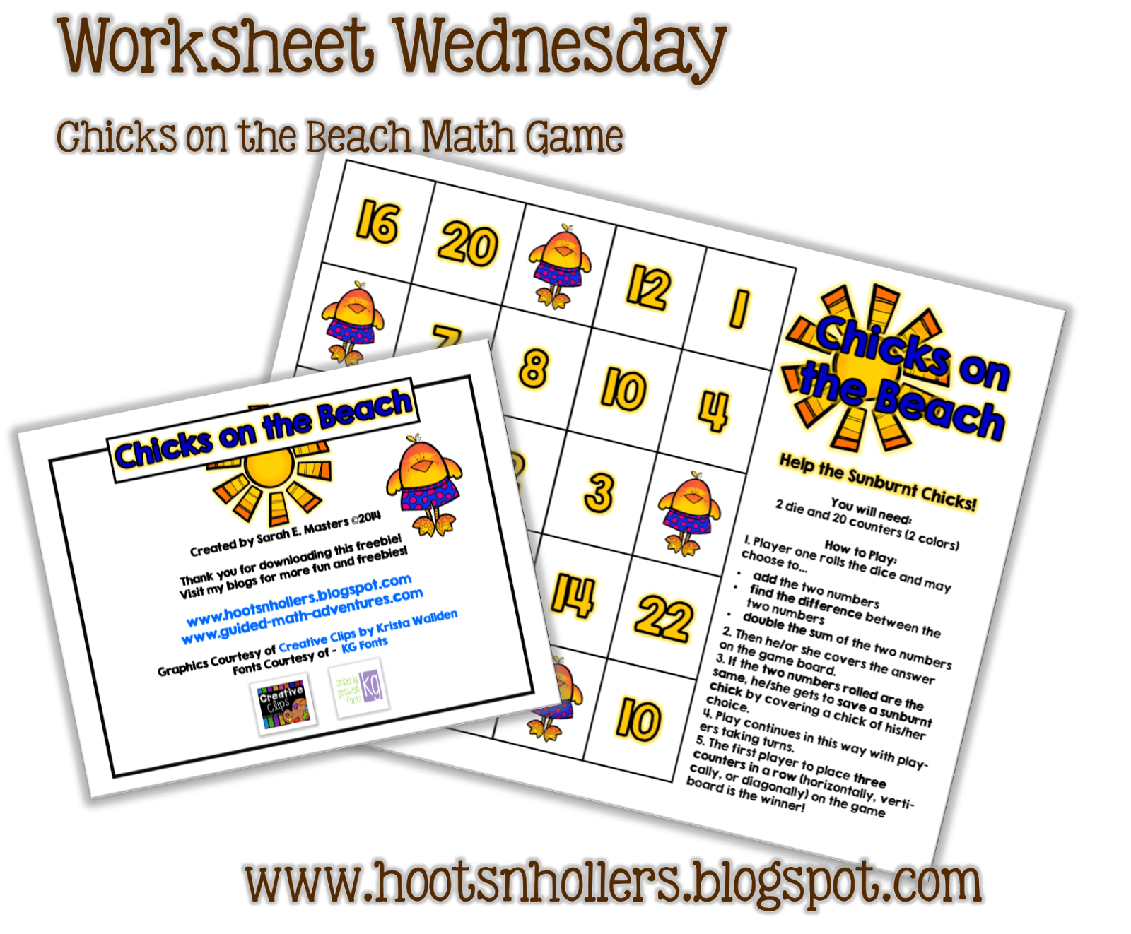 Day Three Of Summer Bloggin Linky Worksheet Wednesday
