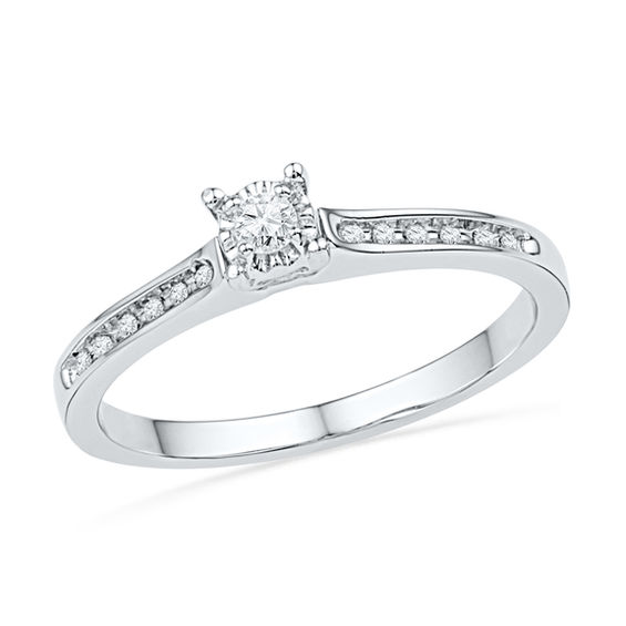 1 10 Ct T W Diamond Promise Ring In 10k White Gold Products Diamond Promise Rings Promise Rings Engagement Rings
