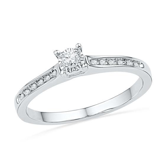 1 10 Ct T W Diamond Promise Ring In 10k White Gold Products Diamond Promise Rings Promise Rings Engagement Rings
