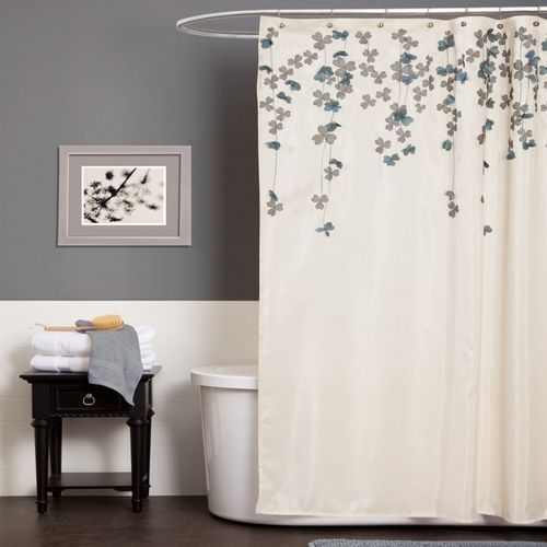 Elegant Interior Design In Beauty Purple Bed And Bathroom Decor Inspiration Flower Drop Shower Curtain