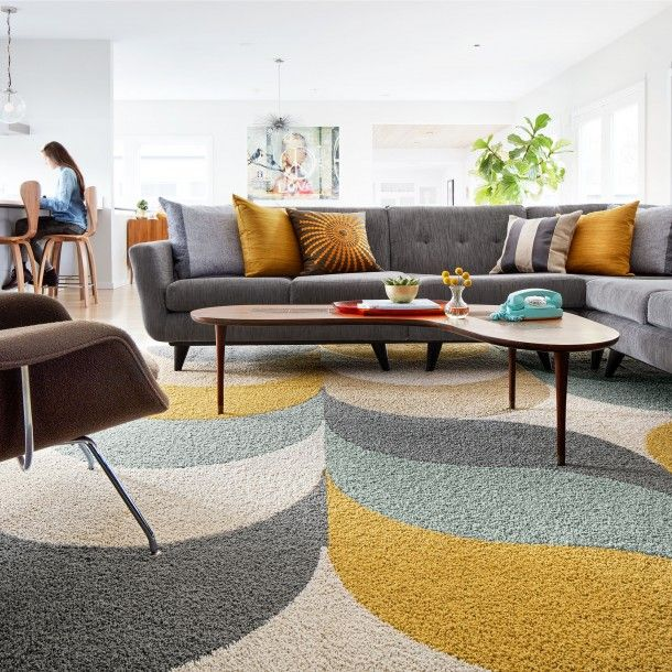 This Area Rug Features In The Deep In Bone Eggnog Maize Fog And Rake Me Over In Seafoam To Maximi Rugs In Living Room Modern Rugs Living Room Carpet Tiles