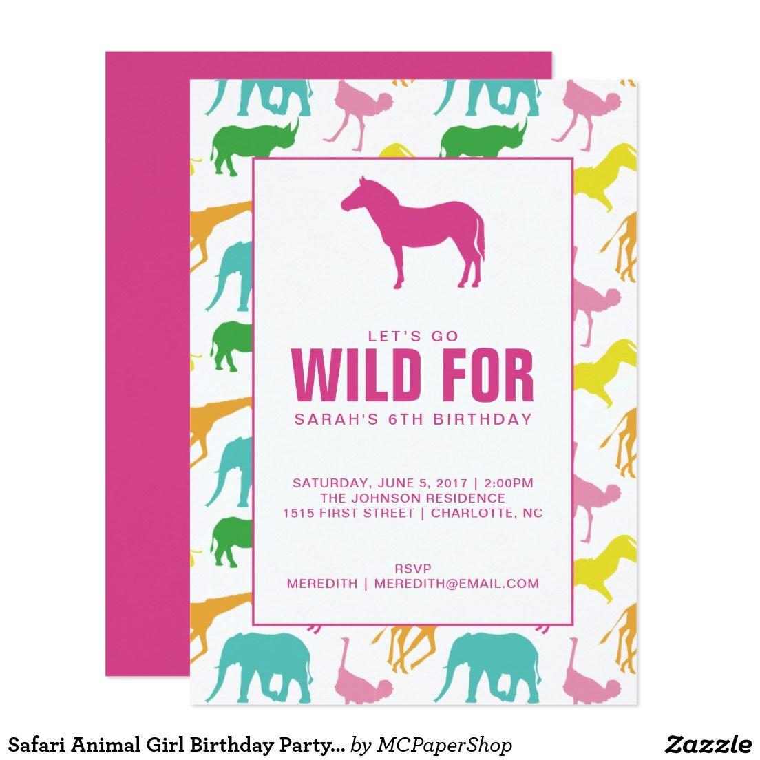 Safari Animal Girl Birthday Party Invitation   MC Paper :: For ...
