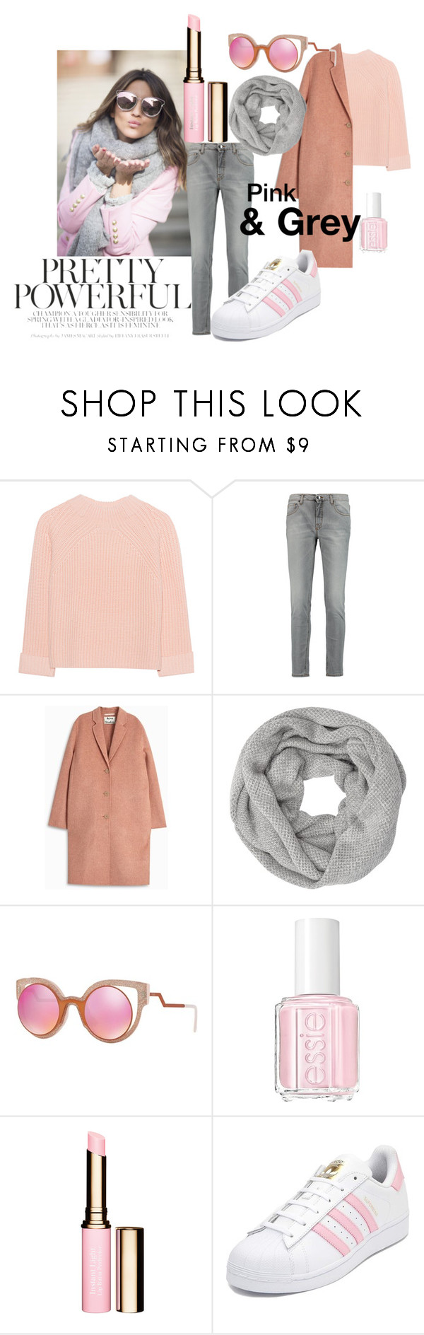 """""""• Pink & Grey Winter Look •"""" by fashion-fields-forever ❤ liked on Polyvore featuring iHeart, dVb Victoria Beckham, Acne Studios, John Lewis, Fendi, Essie and adidas"""