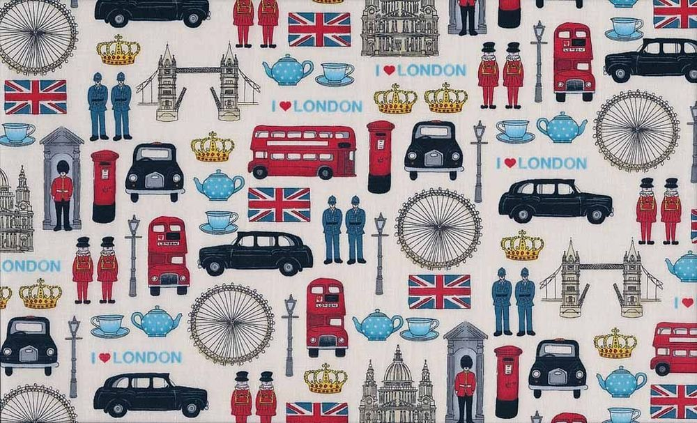Fat Quarter London Icons Cotton Quilting Fabric - Makower