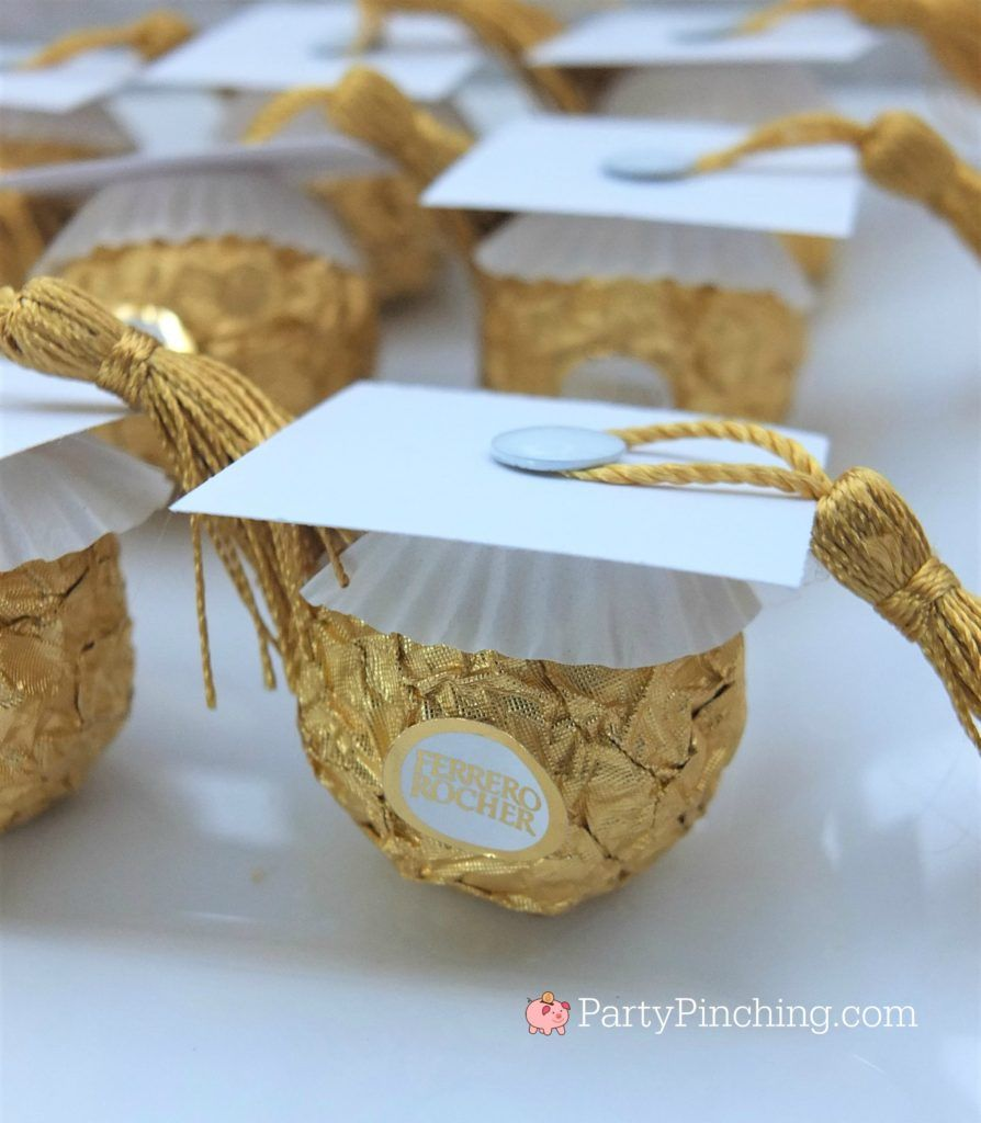 white Ferrero Roche graduation caps, DIY Glitter Gold & White Glam Graduation Pa…