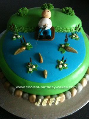 Homemade Fishing Birthday Cake Birthday Cakes Pinterest