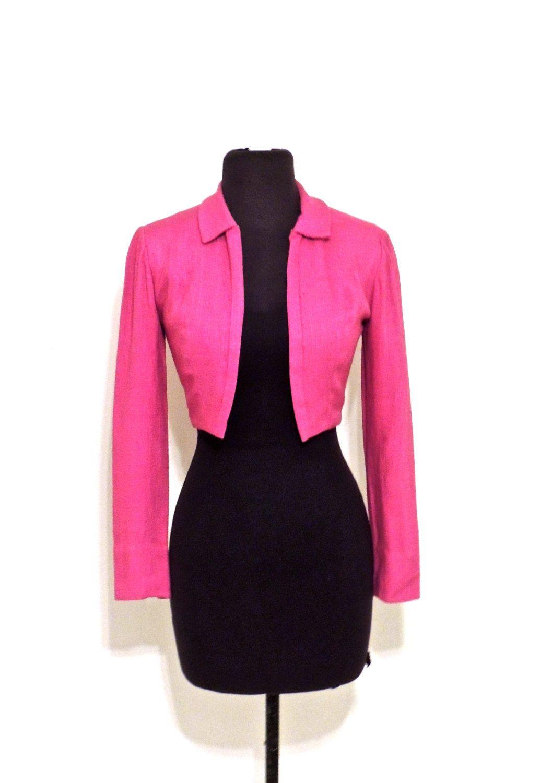 vintage cropped jacket - 1940s-50s Neiman Marcus purple linen jacket by mkmack on Etsy