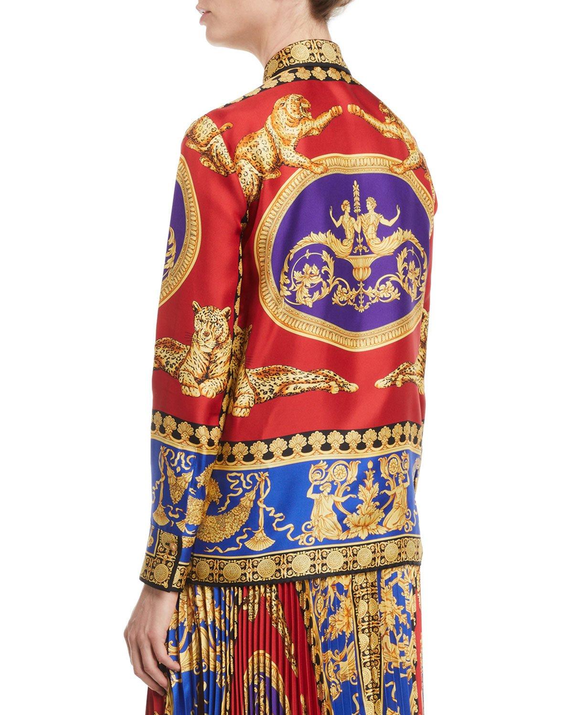 1e7603a9 Versace Pillow Talk Archive Print Button-Front Long-Sleeve Silk Shirt