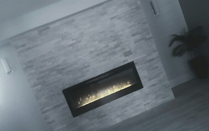 Gray Marble(Factory Tile Depot) Fireplace (Dimplex) with Gray Floors (Speers) . Oakville, ON .ac