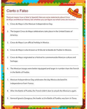 Cierto O Falso Printable Cinco De Mayo Worksheets Cinco De Mayo Activities Fun Education Kids Math Activities