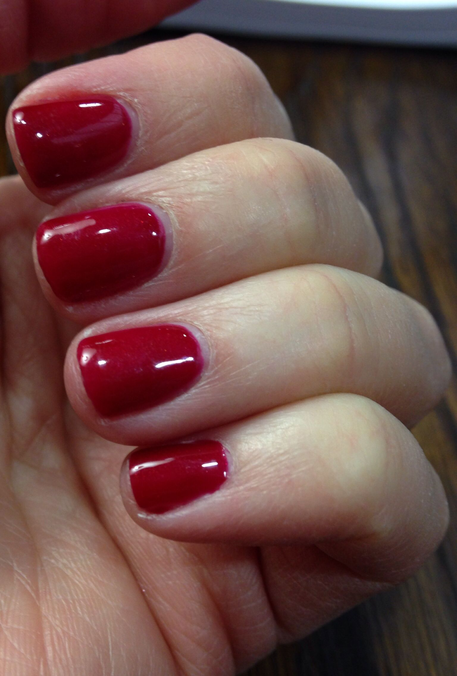 CND Shellac Red Baroness- the color on the bottle looks metallic but ...