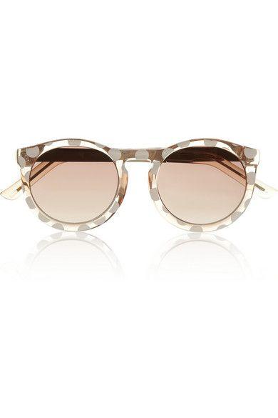 Le Specs - Cheshire polka-dot round-frame acetate sunglasses