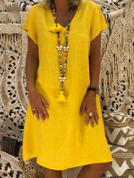38111d5338e5b JustFashionNow Plus Size V-Neck Women Summer Dress Shift Daily Dress Short  Sleeve Casual Solid Dress