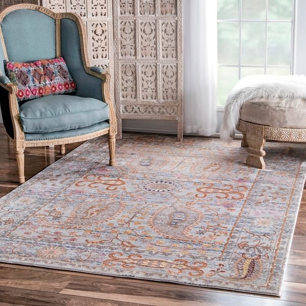NuLOOM Traditional Vintage Fancy Floral Grey/ Multi Rug X (Grey), Size X  (Polyester, Abstract)