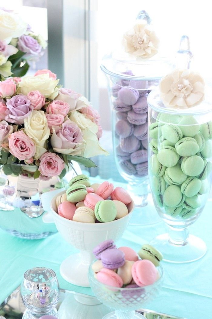 Pastel Floral Wedding Dessert Table