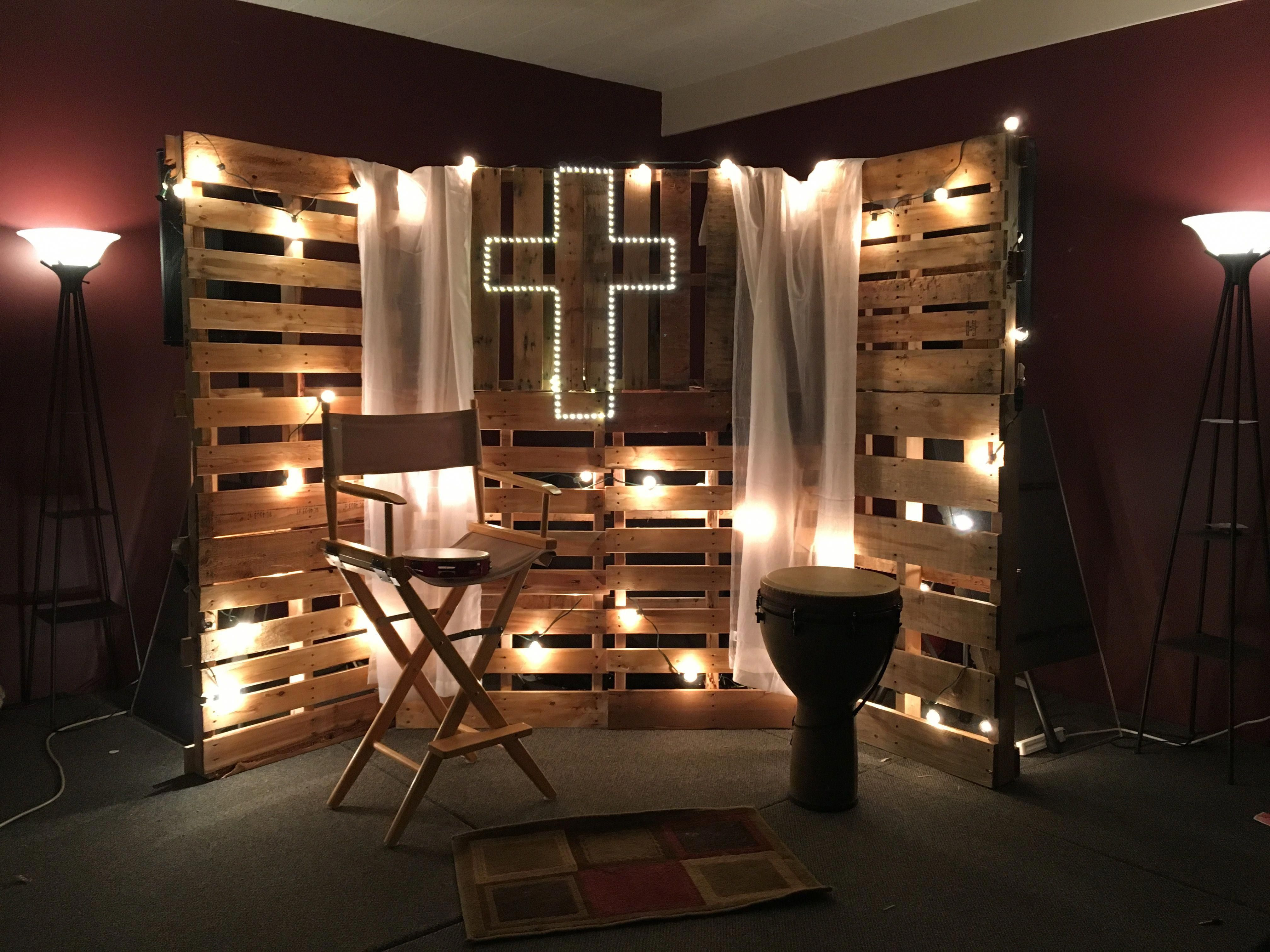 Youth Room Decor Pallet Boards Vintage Lights Sheer Curtains Sticker Lights Stage Decor Youth Room Church Youth Decor Youth Group Rooms