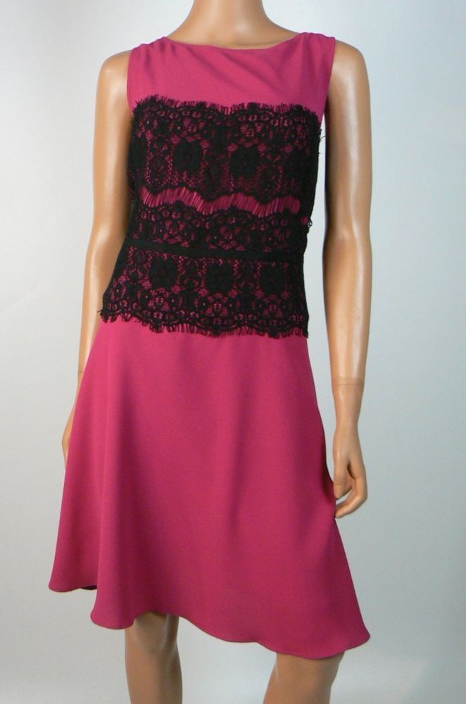 Details About Ann Taylor Loft Pink Black Lace Fit And