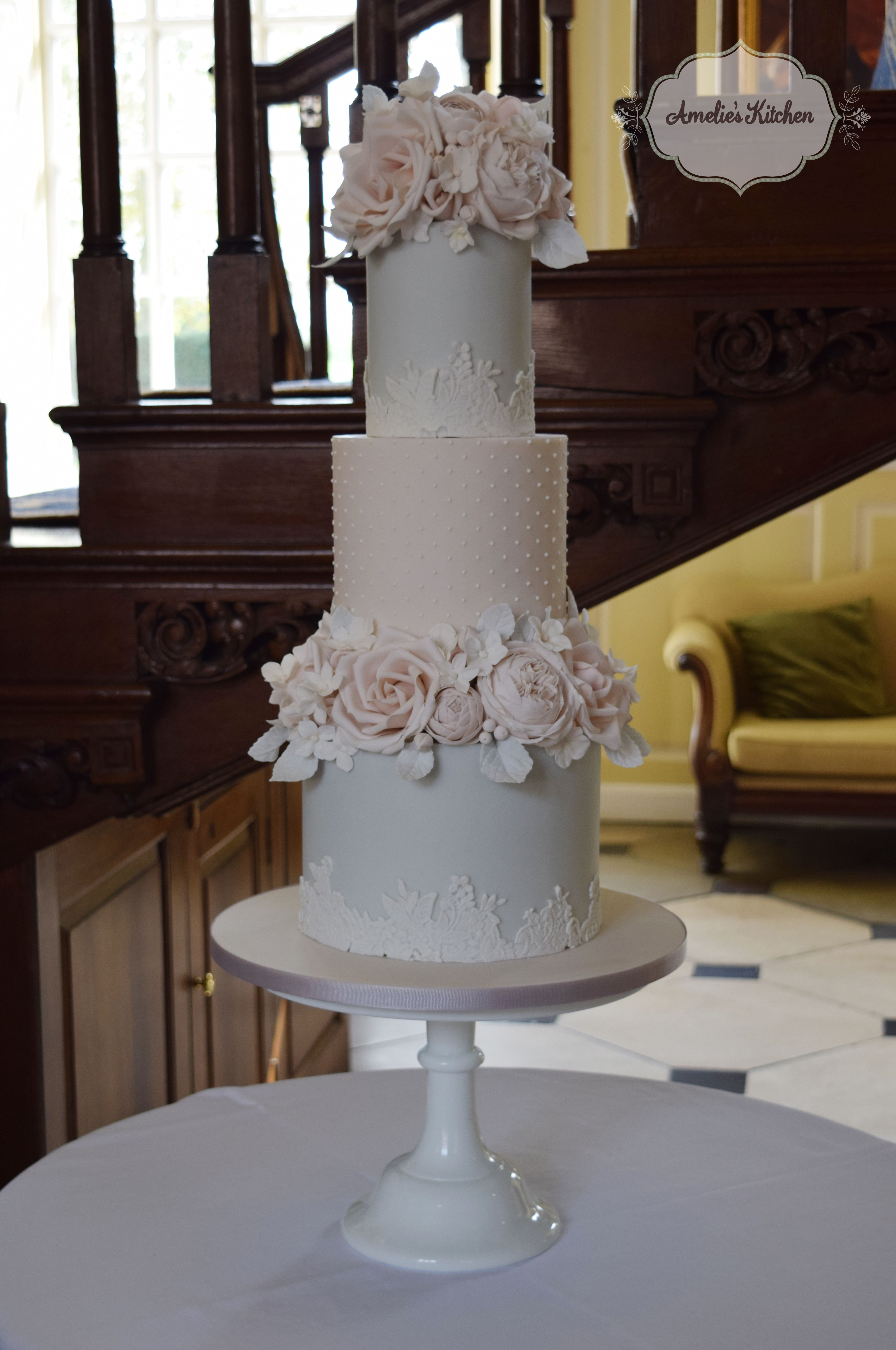 Dove grey and blush english country garden wedding cake at gosfield