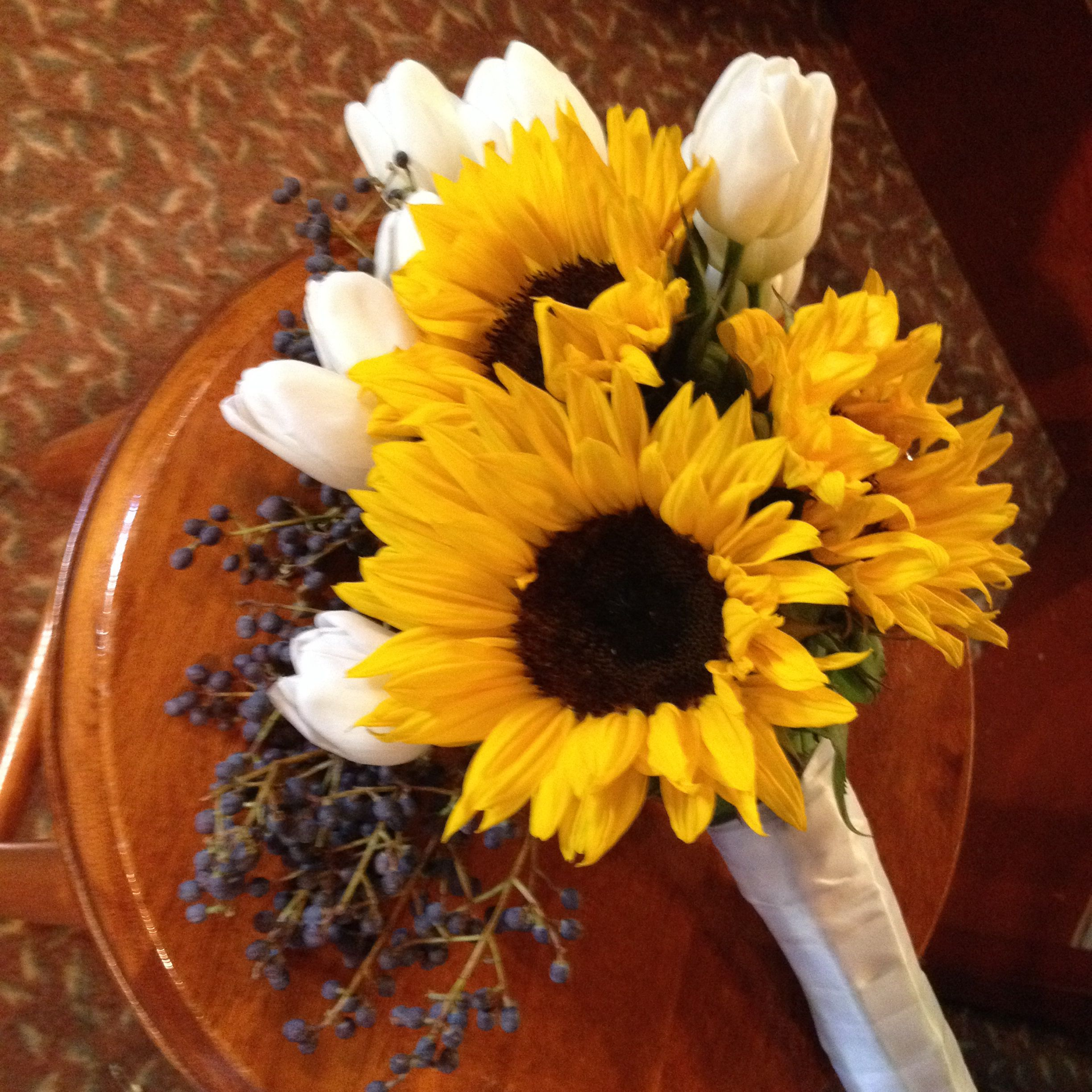Bouquet With Sunflowers, White Tulips And Privet Berries