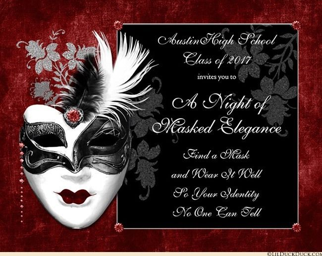 High School Masquerade Party Invitation Any Colors