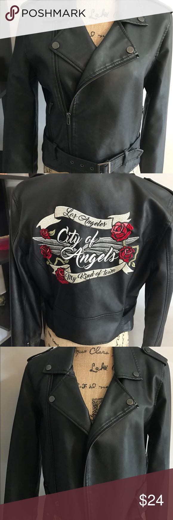 Faux Leather Jacket With Back Embroidery Leather Jacket Faux Leather Jackets Black Faux Leather Jacket [ 1740 x 580 Pixel ]