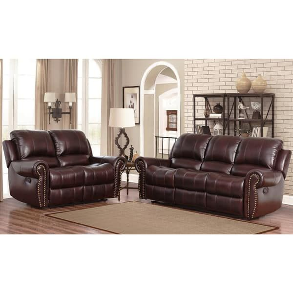 Abbyson Broadway Top-Grain Leather Reclining 2-Piece Living Room Set