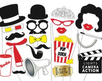 Movie Photobooth Props 27 Pc Hollywood Photo Booth Collection