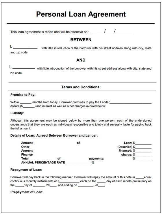 Person loan agreement Top line is borrower\u0027s printed name AND