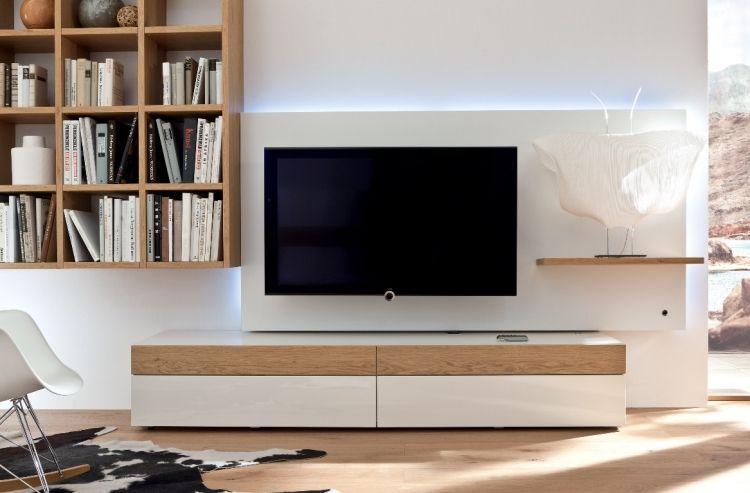 Wohnwand Mit Led Beleuchtung Weiss Holz Regale Bucher Faecher