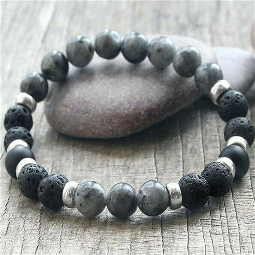 Handmade Natural 4mm 6mm 8mm 10mm Black Lava Gemstone Beads Stretch Bracelet