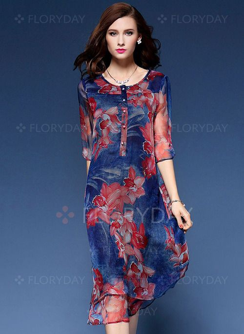 Floral Buttons 3/4 Sleeves Midi Shift Dress - Floryday @ floryday.com