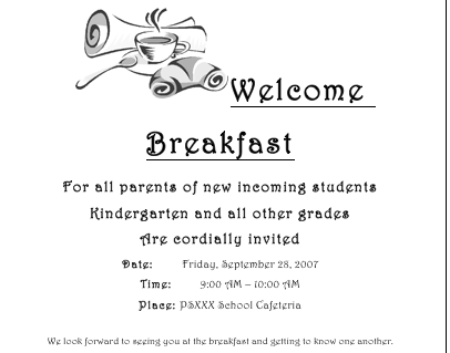 Welcome Breakfast Flyer For New Parents From The Pto Today File