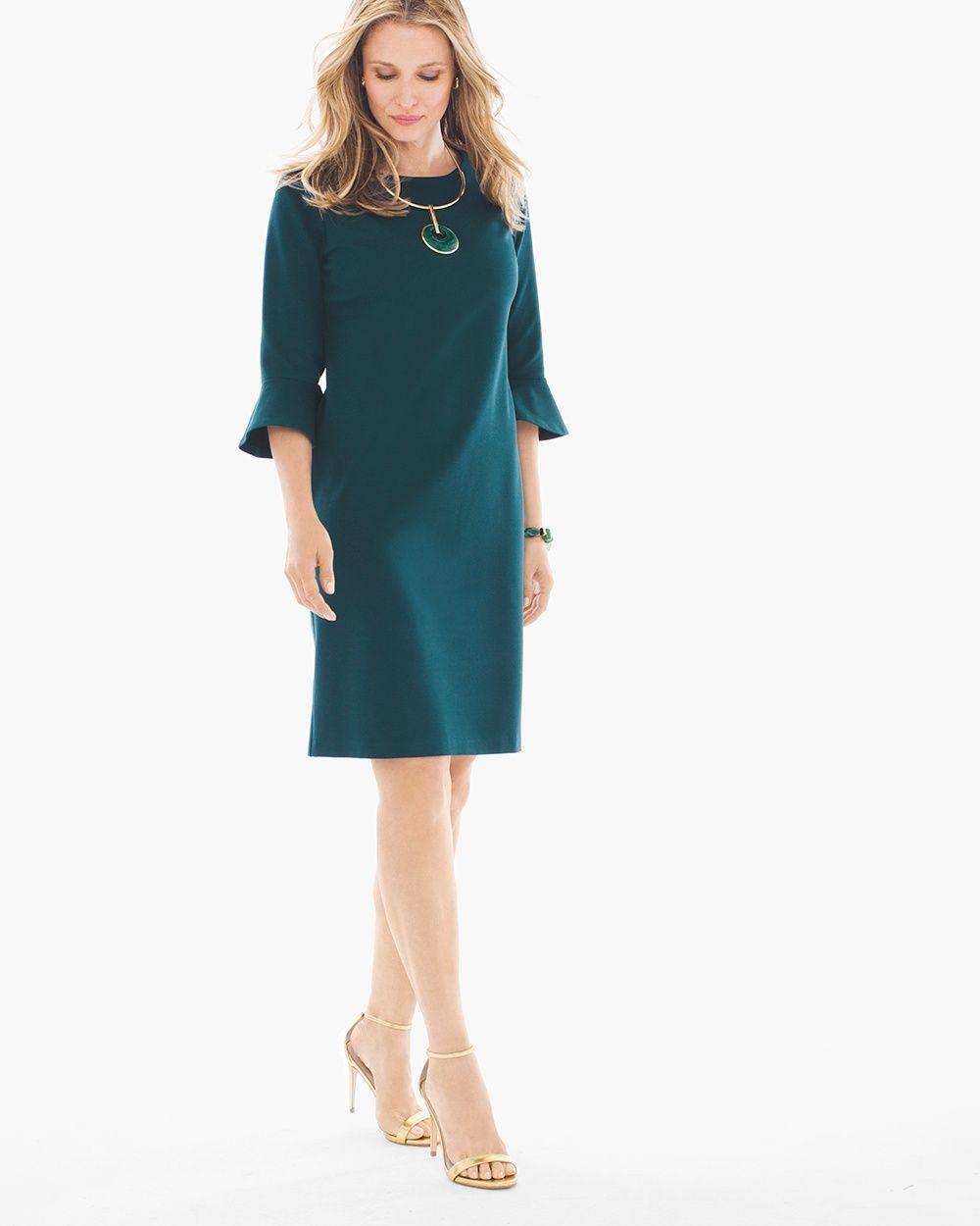 Chico's Women's Ponte Bell-Sleeve Short Dress in Swiss Pine, Swiss Pine, Size: 3.5 (18 - XL)