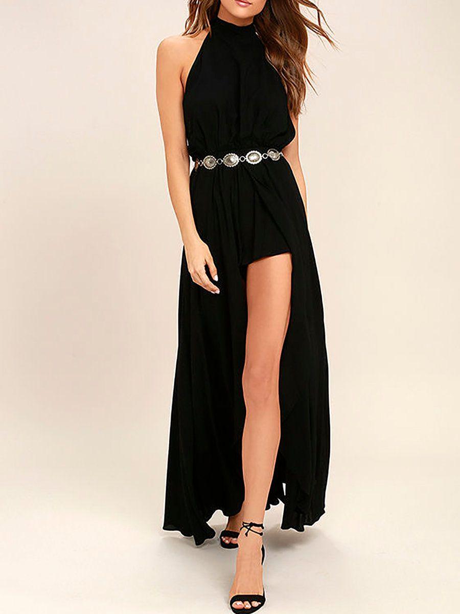 Adorewe justfashionnow beach dressesdesigner hgl black halter