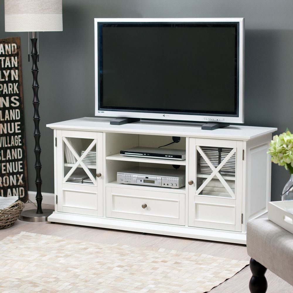 White Entertainment Center TV Modern Contemporary Unit