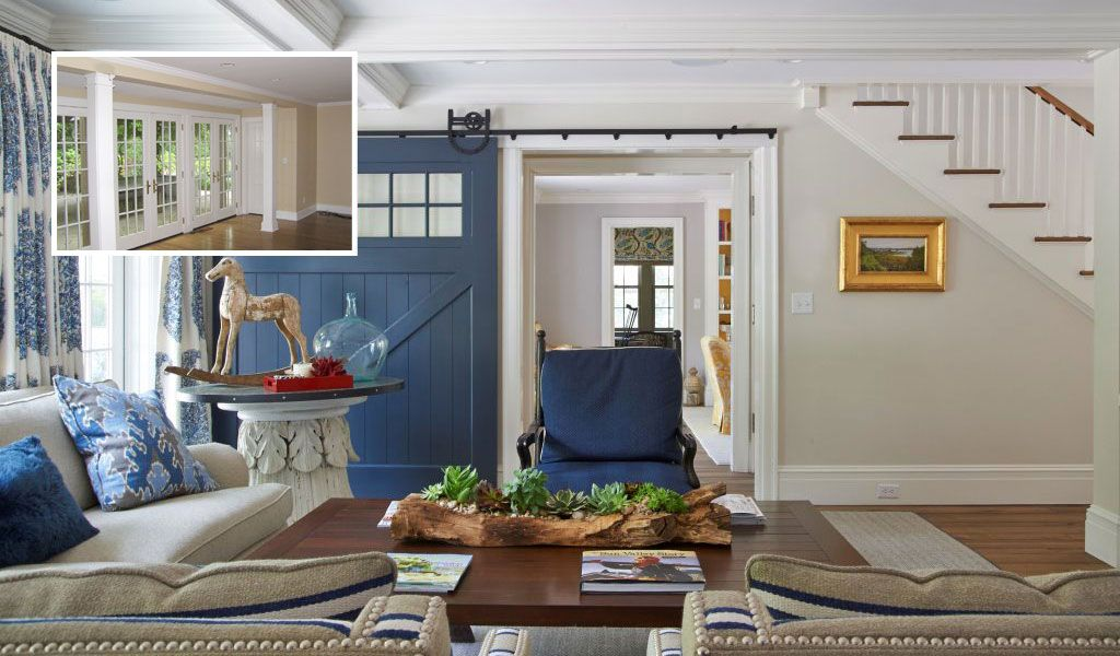The original family room space was tired and dark, which we remedied with glass and light, and the painted, sliding barn door makes the classic room feel homeyBefore & After