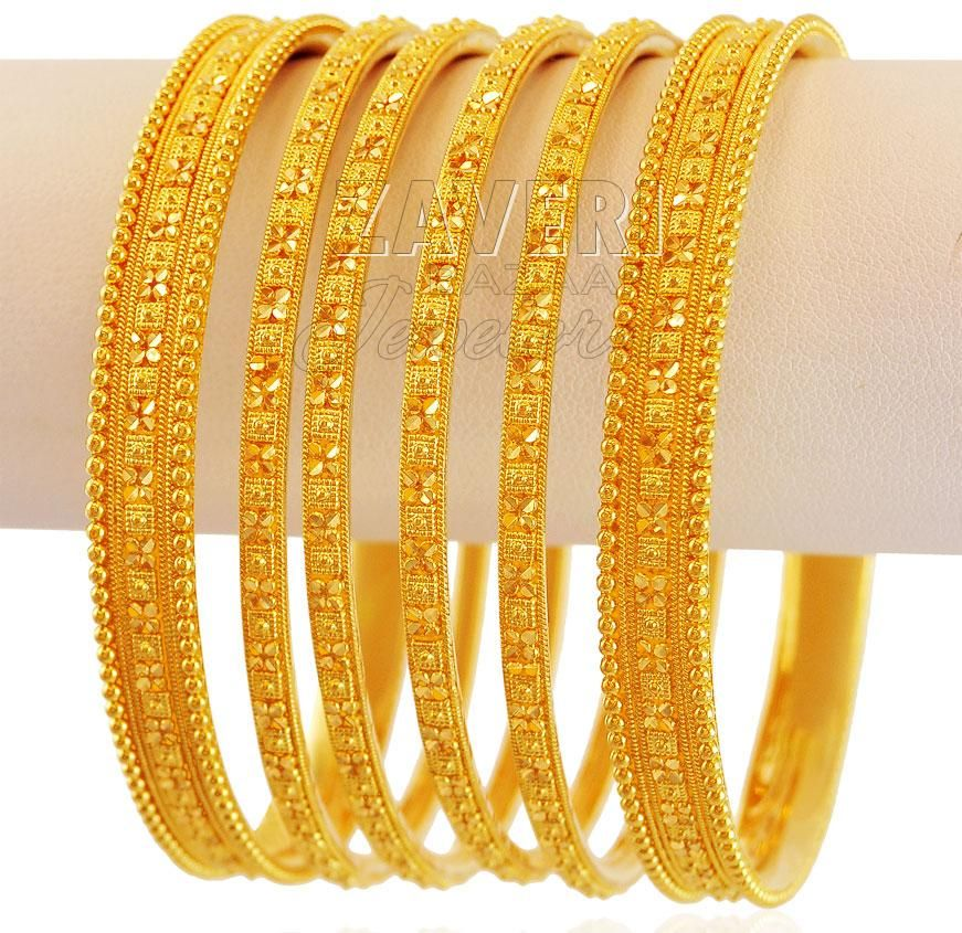 Indian Design Gold Bangles Set (4pc) | Jewelry | Pinterest ...