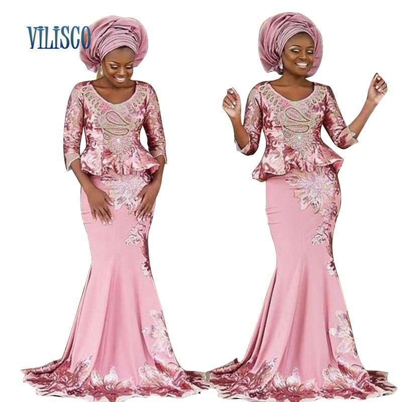 8b251fdbaba28 Bazin African Lace Embroidered Dresses for Women 2018 Party Plus ...