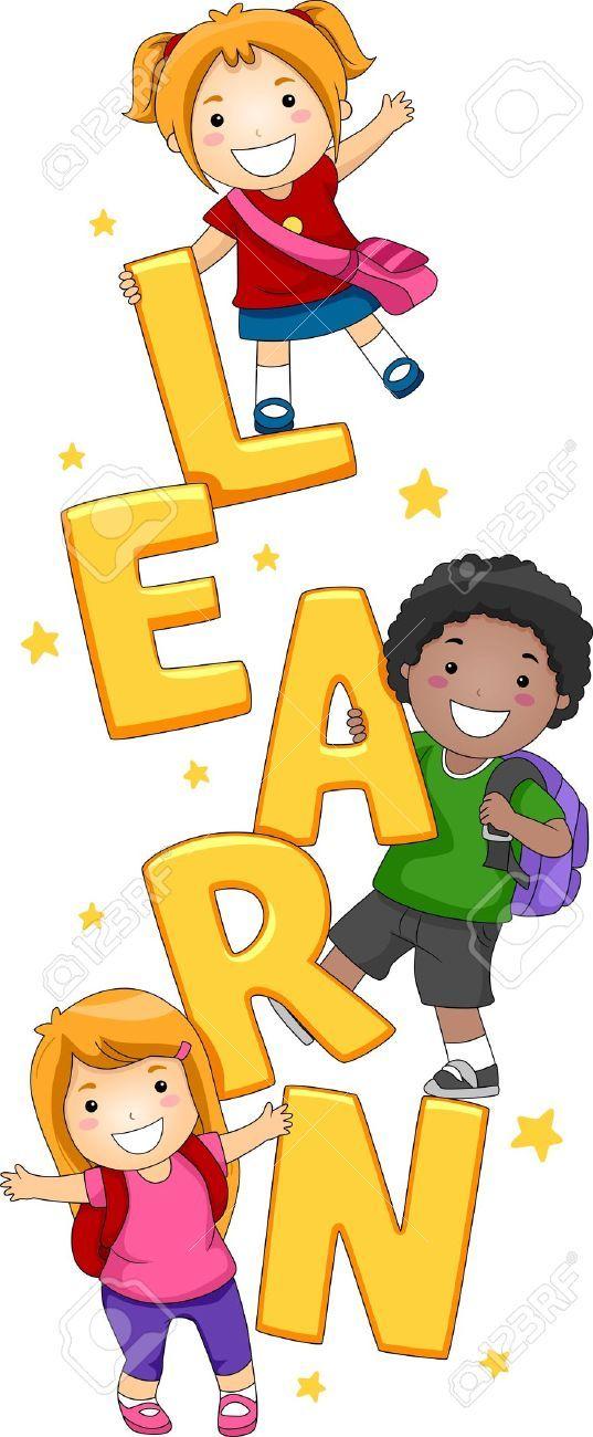 Ilustracion De Ninos Posando Con La Palabra Aprender Murales Escolares Ninos Escolares Poses De Ninos