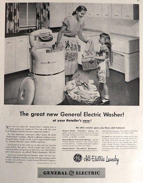 1947 Vintage Ge Washing Machine Ad All Electric