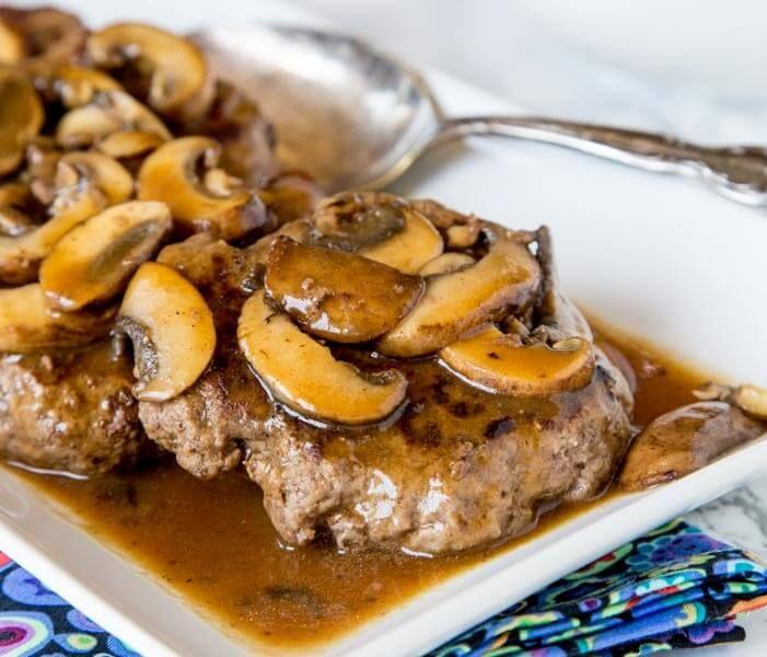 Hamburger Steaks With Mushroom Gravy With Lean Ground Beef Worcestershire Sauce Olive Oil Salt Hamburger Steak Recipes Hamburger Steak Mushroom Gravy Recipe