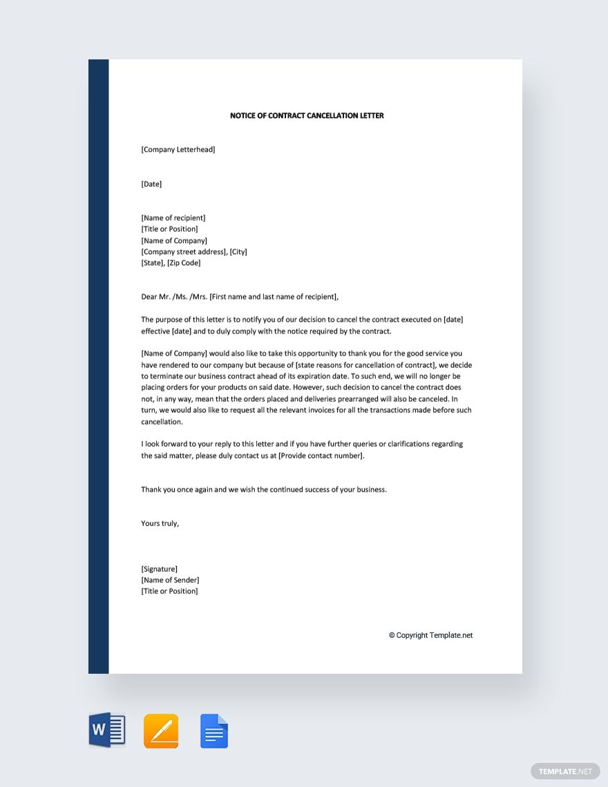 Free Notice Of Contract Cancellation Letter Template Google Docs Word Template Net Letter Template Word Letter Templates Lettering - ms word letter template