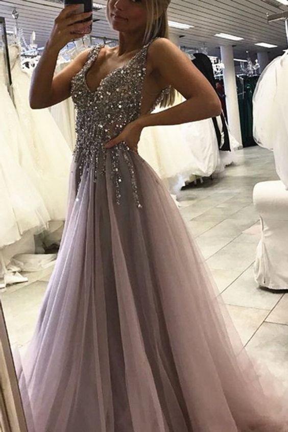 f5cb5eea2ed Deep V-neck Prom Dresses