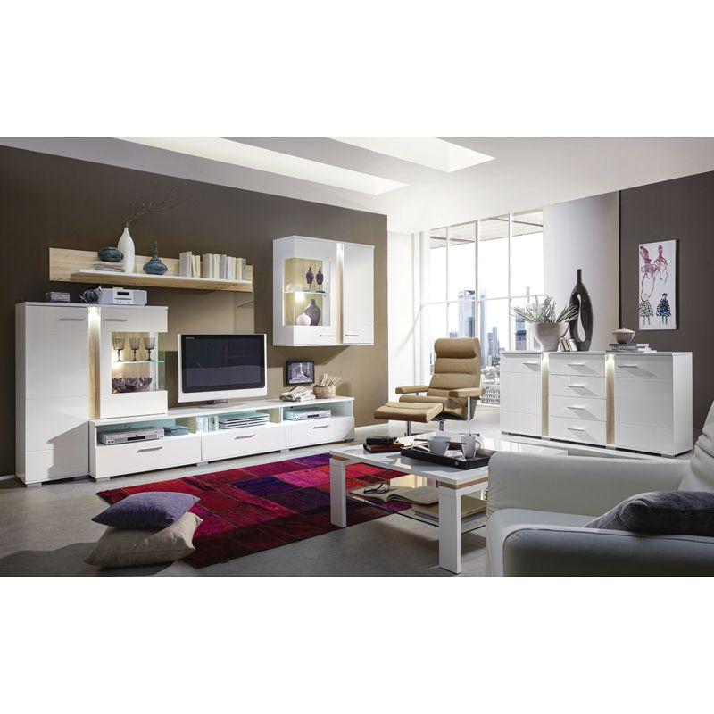 E Combuy Angebote Wohnzimmer Set TOPSOS258 Weiß Hochglanz, Absetzung Sonoma  Eiche Hell: Category