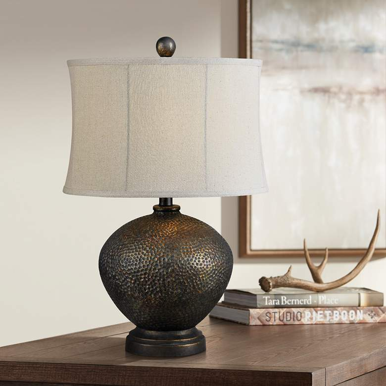 Miller Oil Rubbed Bronze Hammered Table Lamp 8m800 Lamps Plus Table Lamp Glass Jar Table Lamp Lamp