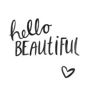 Cute Quote Print Brush Script Hand Lettering Black White Hello